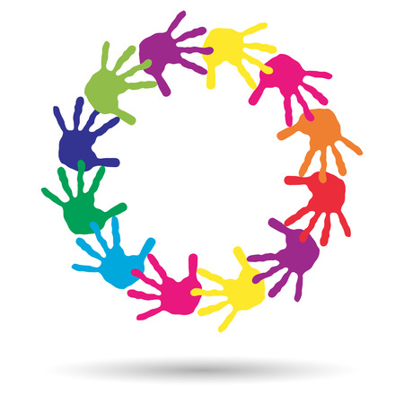amicizia: Concetto o bambini concettuale verniciato stampa a mano isolato su sfondo bianco