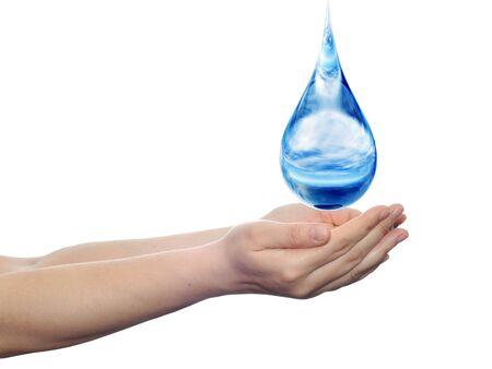 白い背景で隔離の手に落ちる概念青い水滴
