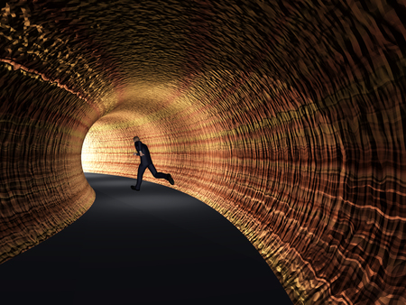 dream vision: Conceptual 3D business man, dark road tunnel with bright light at the end background Stock Photo
