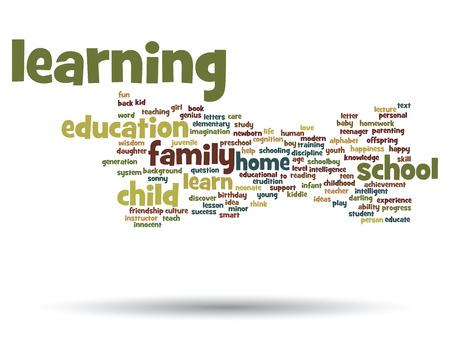 onderwijs: Conceptueel woord wolk concept geïsoleerd op achtergrond Stockfoto