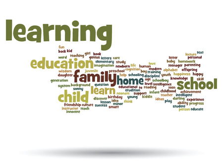 Conceptual education word cloud concept isolated on background Archivio Fotografico