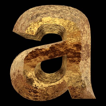 gold metal: Yellow gold or golden metal fonts isoalted on black background