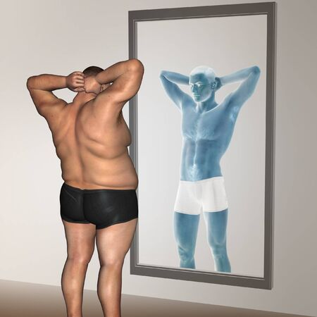 naked male body: Human man fat and slim concept in mirror