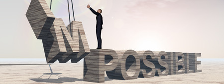 difficult mission: Conceptual 3D business man standing over abstract stone impossible text over rainbow sky banner Stock Photo
