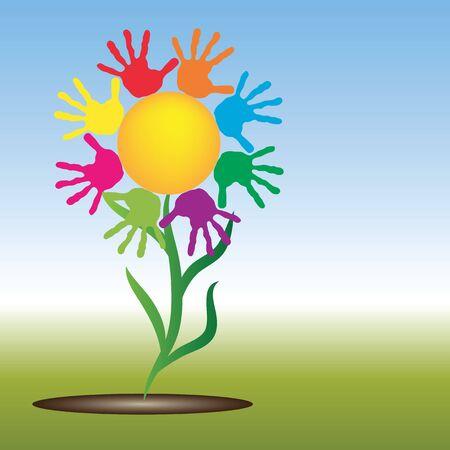 infancia: Concepto conceptual sol amarillo abstracto feliz con espiral de impresión mano de los niños o un círculo de flores aisladas sobre fondo blanco