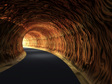 Conceptueel donker abstract tunnel met helder licht aan het eind achtergrond