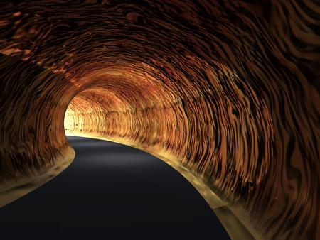 Tunnel routier conceptuel sombre abstrait avec la lumière vive à la fin fond Banque d'images