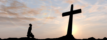 Conceptual religion black cross with a man praying at sunset background banner Stockfoto