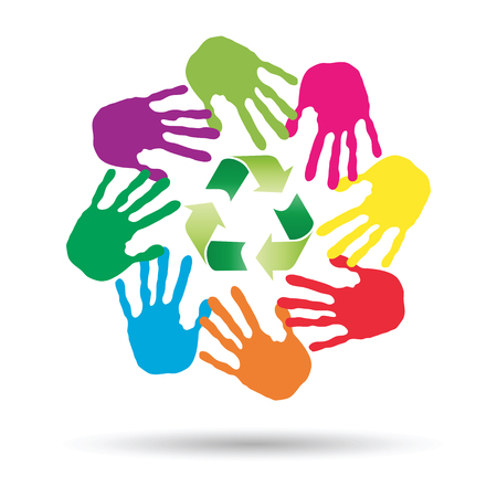 recycling: Conceptual circle or spiral made of painted human hands with green recycle symbol