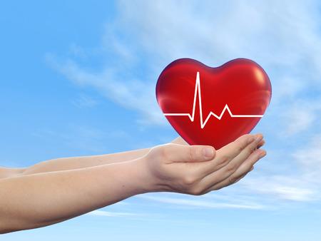 Concept of conceptuele menselijke hand met hart en blauwe hemel achtergrond