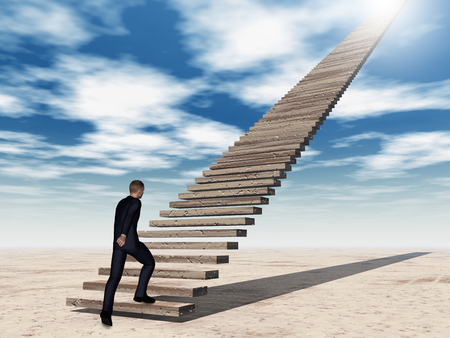 stone stairs: Conceptual 3D business man walking or climbing stair on sky background with clouds