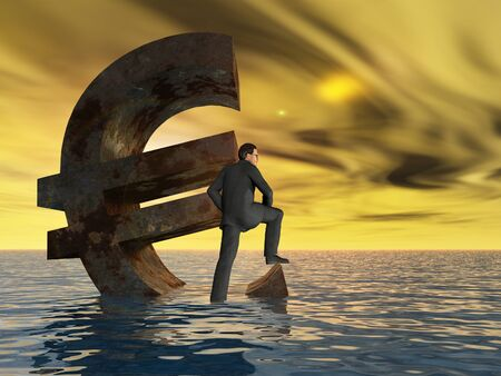 sea disaster: Conceptual Euro crisis with a busines man sinking at sunset sky background