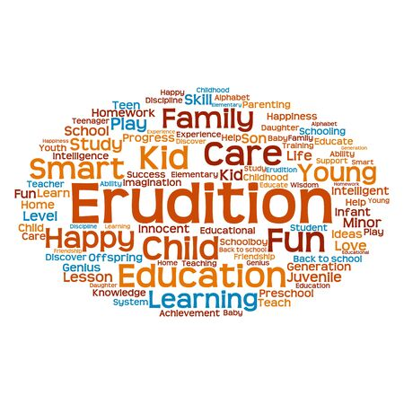 erudition: Conceptual erudition word cloud concept Stock Photo