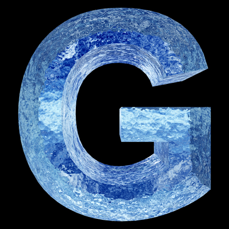 liquid g: Conceptual 3D blue water or ice font part of set or collection isolated on black background for winter