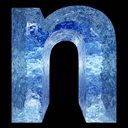 Conceptual 3D blue water or ice font part of set or collection isolated on black background for winter