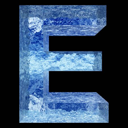 e liquid: Conceptual 3D blue water or ice font part of set or collection isolated on black background for winter