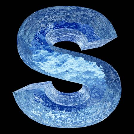water s: Conceptual 3D blue water or ice font part of set or collection isolated on black background for winter