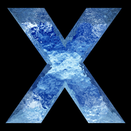 liquid x: Conceptual 3D blue water or ice font part of set or collection isolated on black background for winter