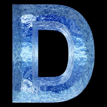 概念 3 D ブルー水または氷フォント セットまたはコレクションの一部冬の黒い背景に分離