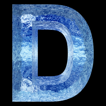 Conceptual 3D blue water or ice font part of set or collection isolated on black background for winter Banco de Imagens - 48987967