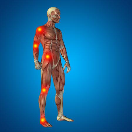 cuerpo humano: Conceptual cuerpo dolor en las articulaciones hombre anatom�a humana en 3D sobre fondo azul