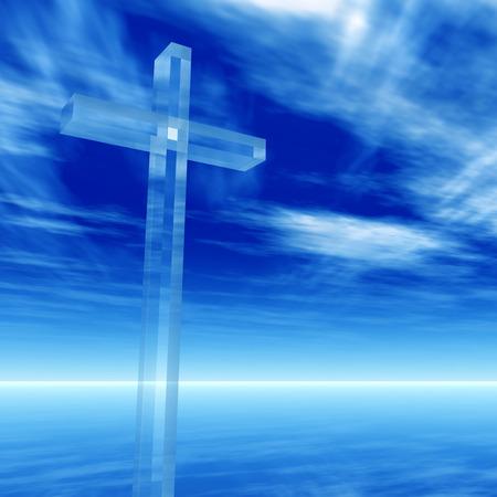 クロスの概念のガラスや水の風景の日や昼間の空の上に宗教シンボル シルエット