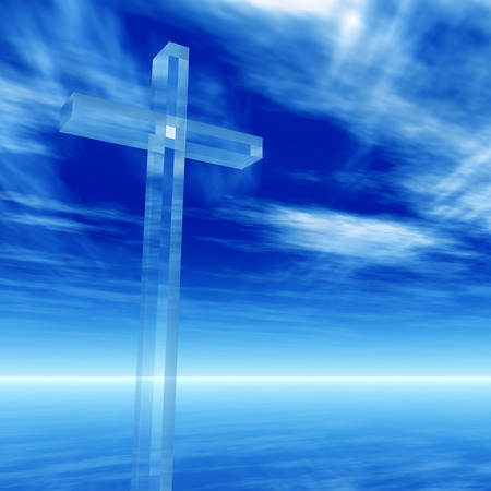 Conceptual glass cross or religion symbol silhouette on water landscape over a day or daytime sky