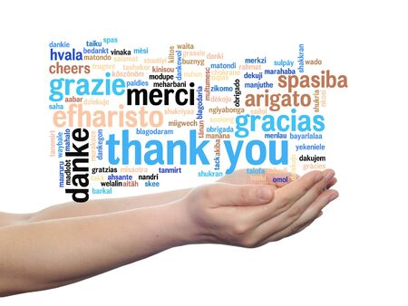 multilingual: Conceptual thank you multilingual word cloud in hands isolated on white background Stock Photo