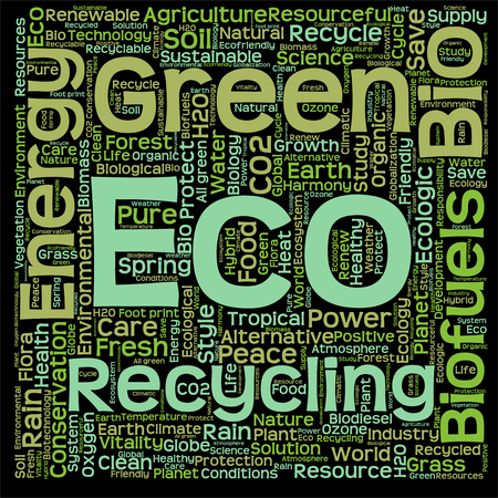 green eco: Conceptual green, eco, ecology or energy word cloud isolated on black background