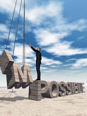 抽象石不可能なテキストの上に立って空概念 3 D ビジネス男性