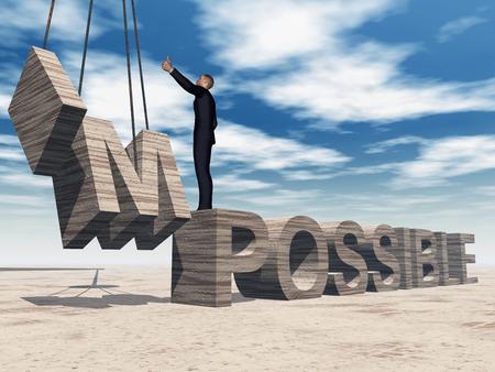 抽象石不可能なテキストの上に立って空概念 3 D ビジネスの男性