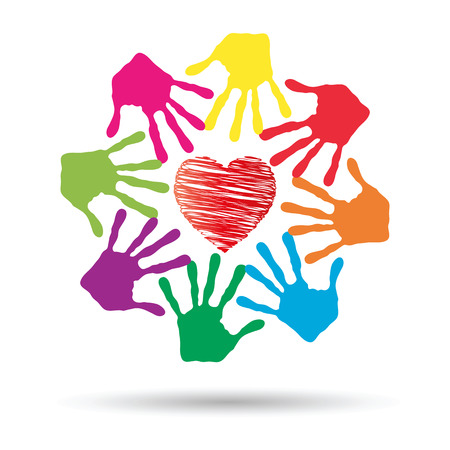 friendship: Conceptual circle or spiral made of painted human hands with red heart love or health symbol