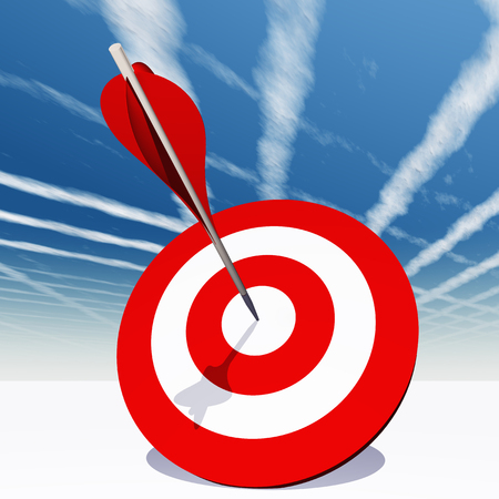 Conceptual red dart target board with arrow in the center on clouds sky background