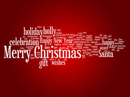 Conceptual Merry Christmas word cloud on red background Stock Photo