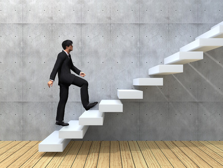 壁や床に階段を上って概念的なビジネス人