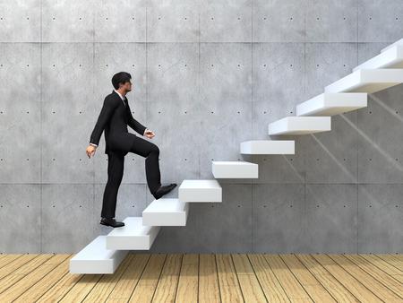 liderazgo: Hombre de negocios conceptual subir una escalera sobre una pared y el piso