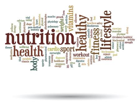 Conceptuele gezondheid of voeding woord wolk concept geïsoleerd op achtergrond