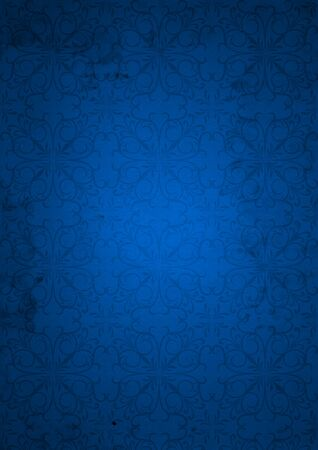 parchment texture: Blue old vintage Christmas paper background with a pattern Stock Photo