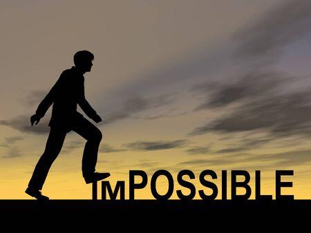 Konzeptionelle unmöglich Text-Konzept mit einem Mann bei Sonnenuntergang Hintergrund Standard-Bild - 49520709