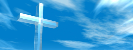 Conceptual glass cross or religion symbol silhouette on water landscape over a day or daytime sky Stock Photo