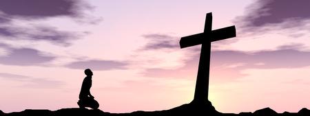 Conceptuele religie zwart kruis met een man, die bidt bij zonsondergang achtergrond banner Stockfoto