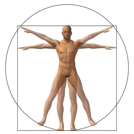 leonardo davinci: Concept or conceptual vitruvian human body drawing on old paper background
