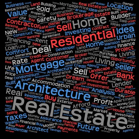 agency agreement: Conceptual real estate or housing word cloud isolated on background