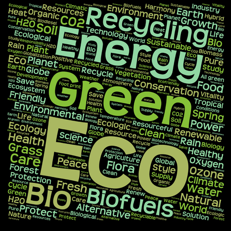 green eco: Conceptual green, eco, ecology or energy word cloud isolated on white background