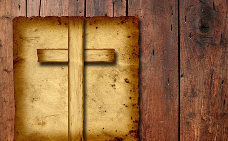 religious holiday: Old vintage Christian paper cross over wood wall background Stock Photo