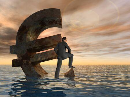 peligro: Conceptual crisis del euro con un hombre busines hunde en el fondo del cielo puesta de sol Foto de archivo