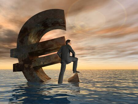 the economy: Conceptual Euro crisis with a busines man sinking at sunset sky background