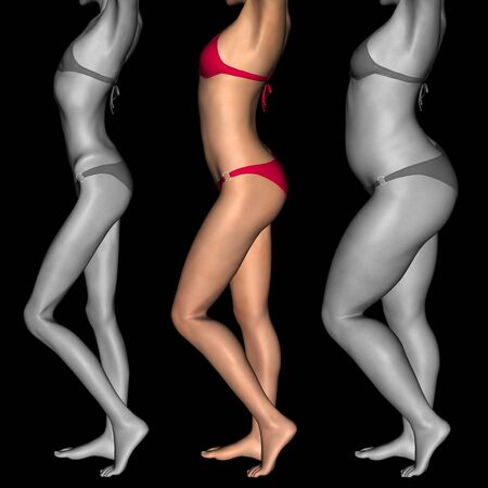 emaciated: Conceptual 3D woman or girl as fat, overweight vs fit healthy, skinny underweight anorexic Stock Photo