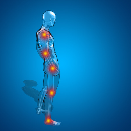 Concept of conceptuele 3D menselijke man of mannelijke skelet pijn of anatomie transparant lichaam, blauwe achtergrond
