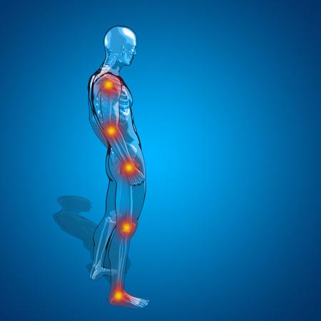articulaciones: Concepto o conceptual hombre humano 3D o dolor esqueleto o la anatomía masculina dolor de cuerpo transparente, fondo azul Foto de archivo